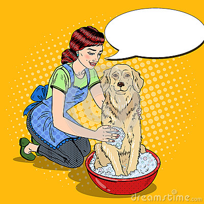 Pop Art Happy Woman Washing Labrador Vector Illustration