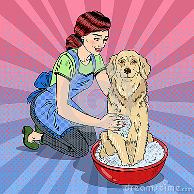 Pop Art Happy Woman Washing Their Dog Vector Illustration