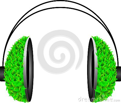 Pop Art headphone with green leafs