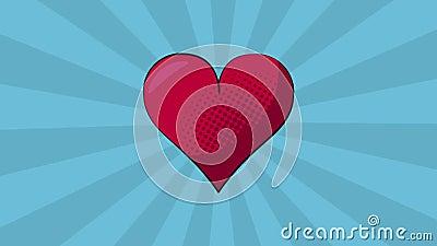 Pop art heart cartoon HD definition. Pop art heart cartoon over striped blue background High definition animation colorful scenes vector illustration
