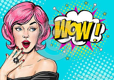 Pop Art illustration, surprised girl.Comic woman. Wow.Advertising poster. Pop Art girl. Birthday greeting card. Advertising poster Cartoon Illustration