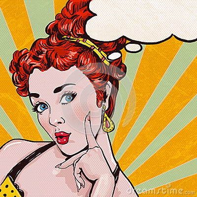 Pop Art illustration of woman with the speech bubble.Pop Art girl.Birthday greeting card. Cartoon Illustration