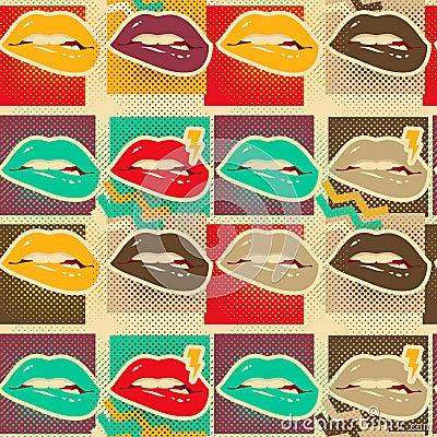 Free Pop Art Lips Copies Seamless Pattern Stock Photo - 83564440