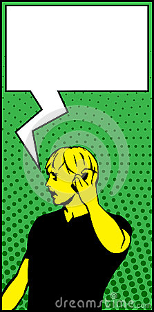 Pop Art Man Making Urgent Call Speech Bubble