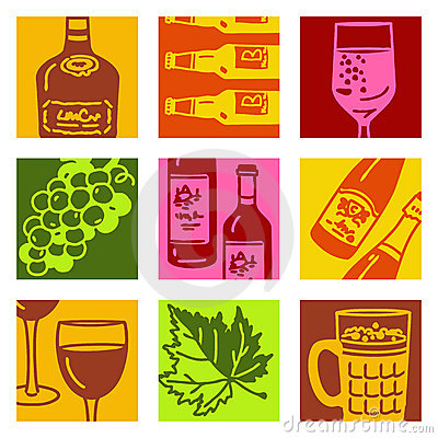 Pop art objects - wine & alcohol
