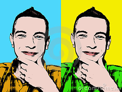 Pop art portrait of a smiling young man