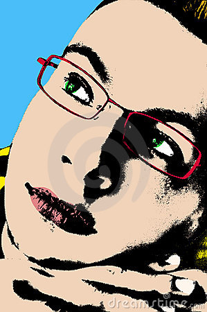 Pop art portrait of a thoughtful young man