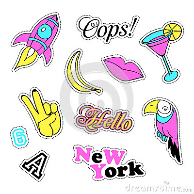 Free Pop Art Set With Fashion Patch Badges And Different Elements. Stickers, Pins, Patches, Quirky, Handwritten Notes Stock Photography - 78668192