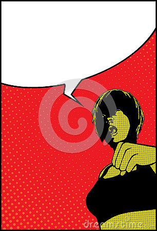 Pop Art Shocked Surprised Girl With Speech Bubble