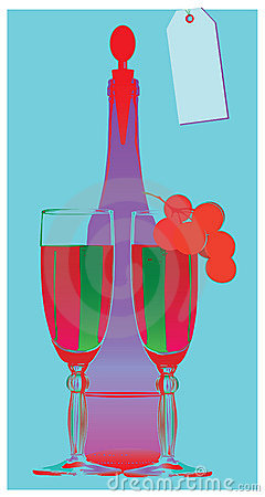Pop-art-still-life-bottle-wineglass-grape-vine