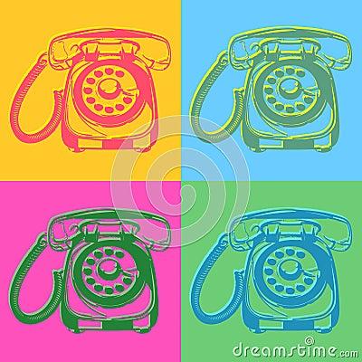 Pop art style retro phones