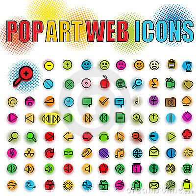 Pop art web icons