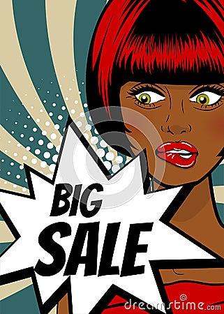 Free Pop Art Woman Big Sale Banner Speech Bubble Royalty Free Stock Photos - 96430968