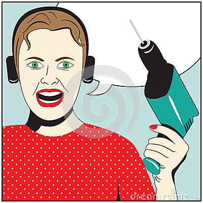 Pop Art Woman with drill