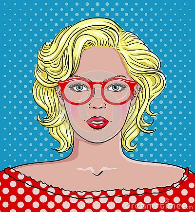 Pop Art Woman with Glasses. Woman red glasses Vector Illustration