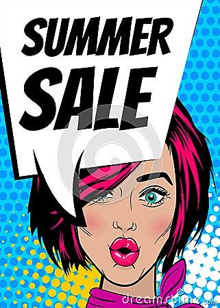 Free Pop Art Woman Summer Sale Banner Speech Bubble Royalty Free Stock Photos - 96431008