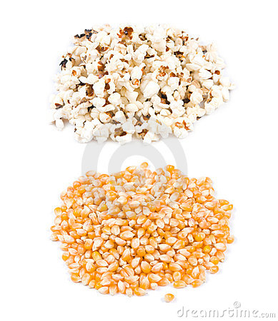 Pop corn, before and after pop