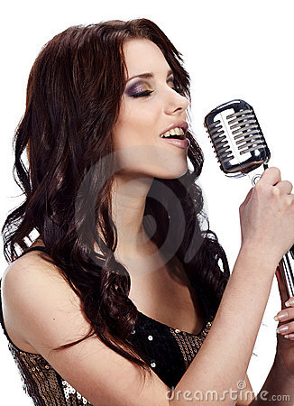 Pop female singer with the retro mic