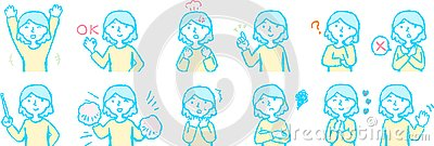 Pop Illustration of a Upper body of woman face and pose set Stock Photo