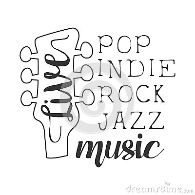 Free Pop, Rock, Indie, Jazz Live Music Concert Black And White Poster With Calligraphic Text And Guitar Headstock Stock Photos - 86456523