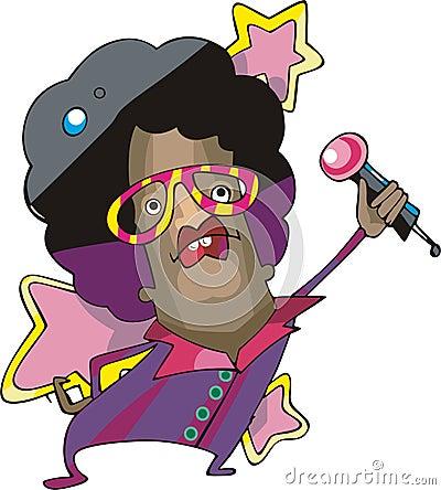 Pop star singer cartoon