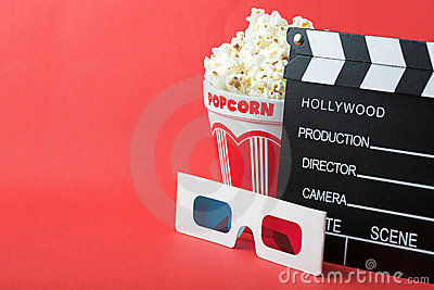 Popcorn, 3D glasses & clapperboard