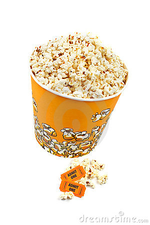Popcorn bucket and tickets
