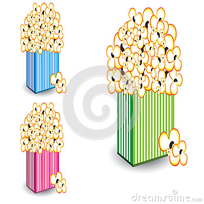 Free Popcorn In Multi-colored Striped Royalty Free Stock Photography - 25563287
