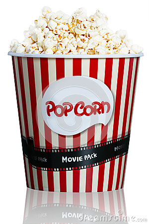 Free Popcorn In Red Striped Cardboard Box For Cinema Royalty Free Stock Images - 39168579