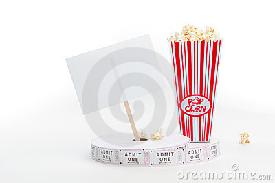 Popcorn, movie tickets and a sign
