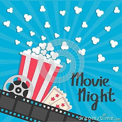 Free Popcorn Popping. Big Movie Reel. Ticket Admit One. Three Star. Cinema Movie Icon In Flat Design Style. Film Strip Border. Red Yell Royalty Free Stock Photos - 95883748