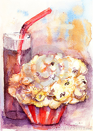 Popcorn and soda drink