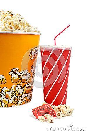 Popcorn, tickets and soda