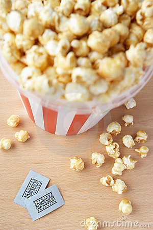 Popcorn and two cinema tickets