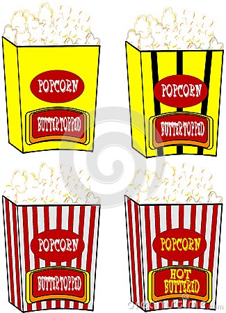 Popcorn in various styles