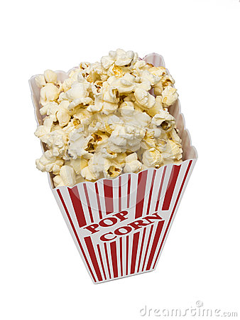 Free Popcorn Vertical Shot On White Background Royalty Free Stock Photography - 33013137