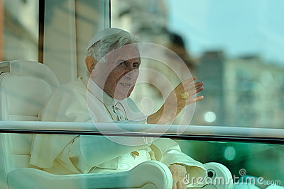 Pope Benedict XVI in Milan on June, 1st 2012 Editorial Stock Image