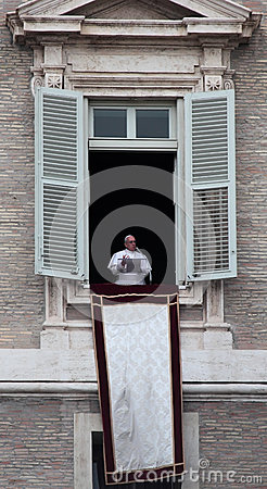 Pope Francis I during the first Angelus Editorial Image