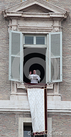 Pope Francis I during the first Angelus Editorial Photography