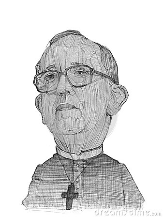 Pope Francis illustration sketch Editorial Image