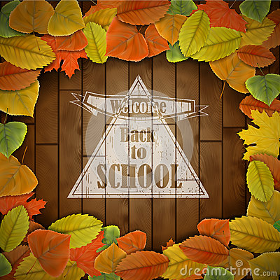 Popiera szkoły drewna deska z liśćmi