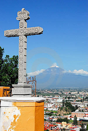 Popocatepetl volcano view from Cholula