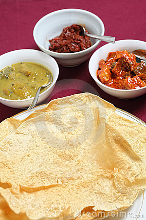 Poppadoms with indian pickles