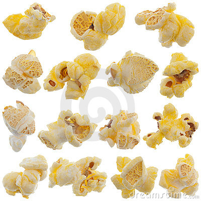 Popped kernels of pop corn snack