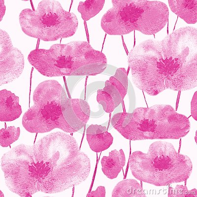 Poppies seamless pattern pink Stock Photo
