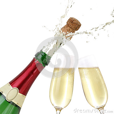 Popping Cork From A Champagne Bottle Stock Images - Image: 35270244