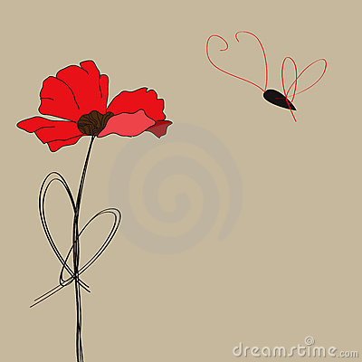 Poppy flower with butterfly