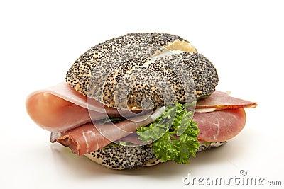 Poppy roll with ham