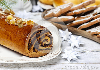 Poppy seed cake in christmas setting