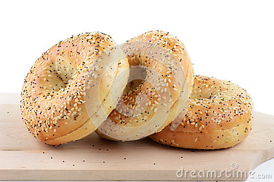 Poppy seed and sesame seed bagels